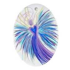 Indigo/Crystal Angel Oval Ornament