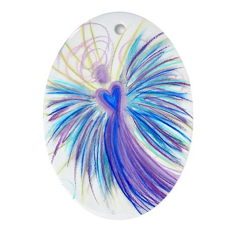Indigo/Crystal Angel Oval Ornament