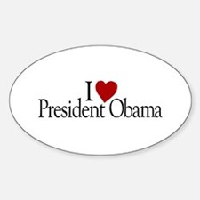 I Love President Obama Oval Decal