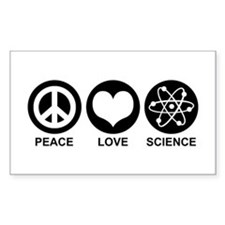 Peace Love Science Rectangle Decal