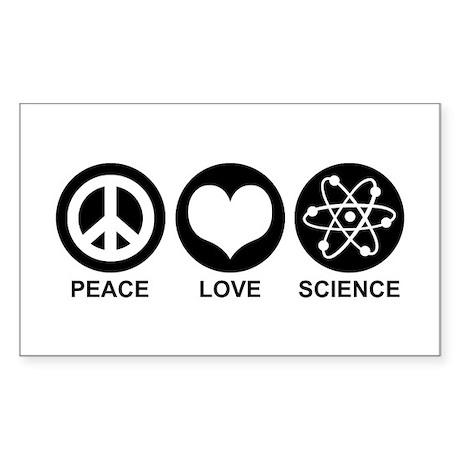 Peace Love Science Rectangle Sticker