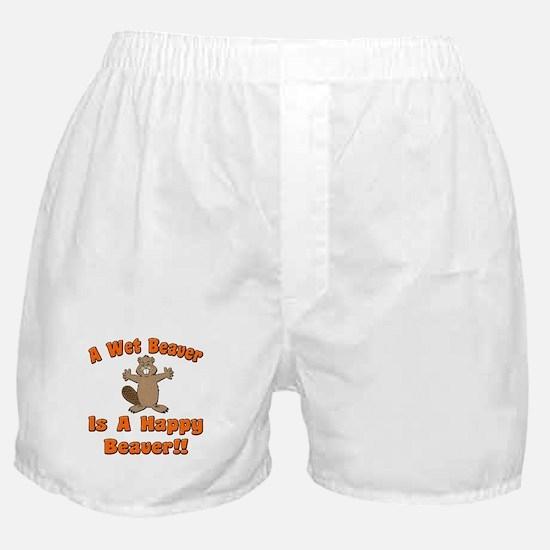 Wet Beaver Is A Happy Beaver Boxer Shorts