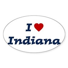 I HEART INDIANA Oval Decal