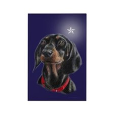 Dachshund Christmas Star Rectangle Magnet