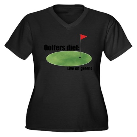 Golfers Diet: Live on Greens Women's Plus Size V-N