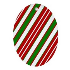 CandyCane Oval Ornament