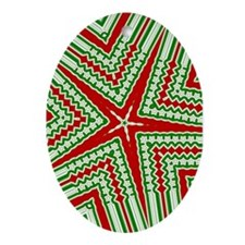 Red Star Oval Ornament