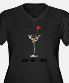 the 19h hole Women's Plus Size V-Neck Dark T-Shirt