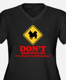 Chihuahua Longhaired Women's Plus Size V-Neck Dark
