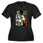 Siphon Women's Plus Size V-Neck Dark T-Shirt