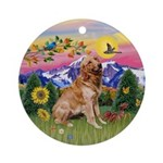 Golden in Mountain Country Keepsake (Round)