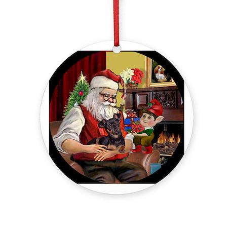 Santa's Min Pin Keepsake (Round)