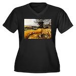 Harvesters Women's Plus Size V-Neck Dark T-Shirt