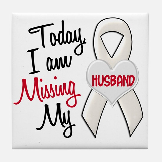 Missing My Husband 1 PEARL Tile Coaster