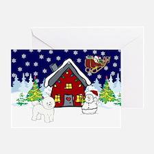 Cute Bichon Frise Christmas Greeting Card
