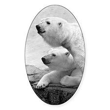 2 Bear Heads Oval Decal