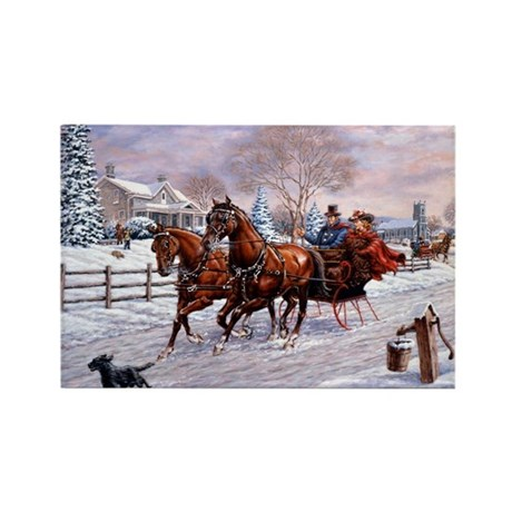 Sleigh Ride Rectangle Magnet (10 pack)
