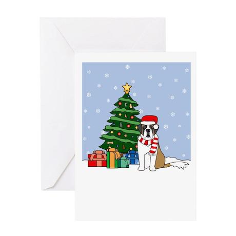 St Bernard Howling Holiday Greeting Card