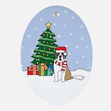 St Bernard Christmas Oval Ornament