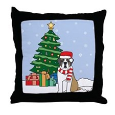 St Bernard Christmas Throw Pillow