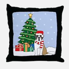 St Bernard Christmas Throw Pillow