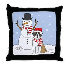 Saint Bernard Winter Throw Pillow