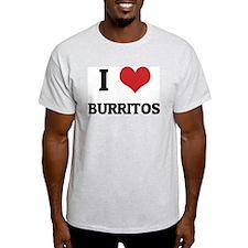 I Love Burritos Ash Grey T-Shirt