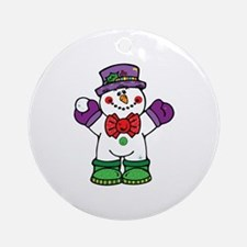Silly Happy Snowman Ornament (Round)