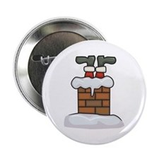 "Santa Stuck in Chimney 2.25"" Button"
