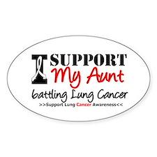 Support Lung Cancer Awareness Oval Sticker (10 pk)