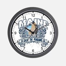 Save the Penguins Maine Wall Clock
