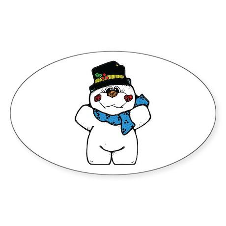 Happy Frosty Snowman Oval Sticker (10 pk)