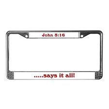John 3:16 License Plate Frame