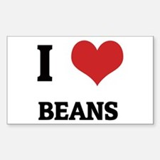 I Love Beans Rectangle Decal