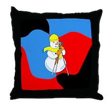 Snowman Surveyor Throw Pillow