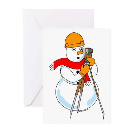 Snowman Surveyor Greeting Cards (Pk of 20)