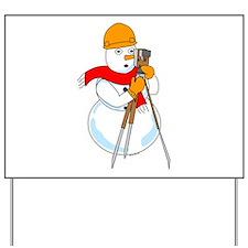 Snowman Surveyor Yard Sign