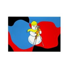 Snowman Surveyor Rectangle Magnet