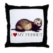 I love my ferret Throw Pillow