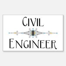 Civil Engineer Line Rectangle Decal