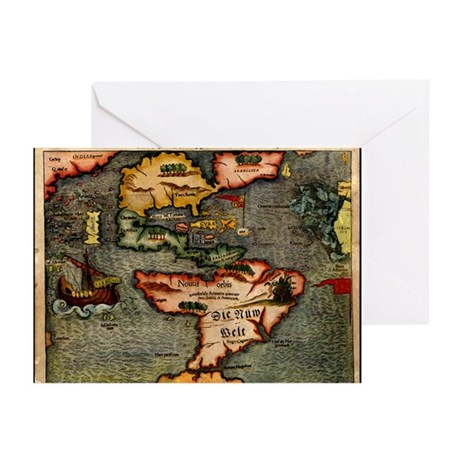 Map of the Americas Greeting Cards (Pk of 10)