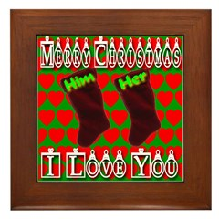 Him & Her Stockings Framed Tile