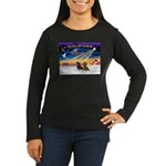 XmasSunrise/2 Dachshunds Women's Long Sleeve Dark