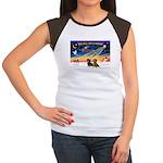 XmasSunrise/2 Dachshunds Women's Cap Sleeve T-Shir