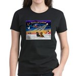 XmasSunrise/2 Dachshunds Women's Dark T-Shirt