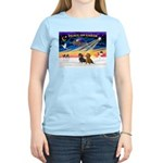 XmasSunrise/2 Dachshunds Women's Light T-Shirt