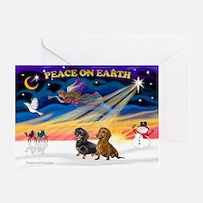 XmasSunrise/2 Dachshunds Greeting Card
