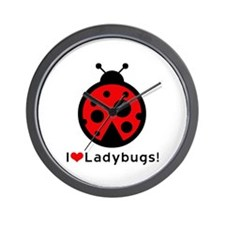 I Love Heart Ladybugs Wall Clock