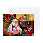 Santas Whippet pair Greeting Cards (Pk of 10)