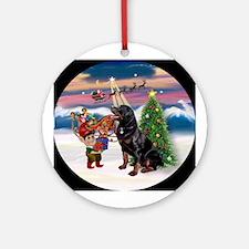 Christmas Tree & Rottweiler Keepsake (Round)